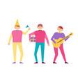 men on birthday party set people having fun vector image