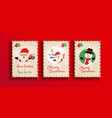 merry christmas retro santa claus card set vector image