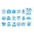 milk natural product logo set dairy product vector image vector image