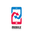 mobile phone application - logo template vector image