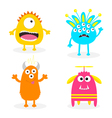 monster set cute cartoon scary character baby