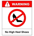 No high heel shoes sign on white background vector image
