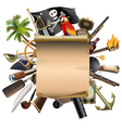 old scroll with pirate accessories vector image vector image