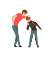 older boy mocking younger conflict between vector image vector image