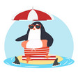 penguin on sandy island with fin sharks vector image