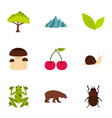 plant animal insect icons set flat style vector image vector image