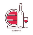 red and white wine promotional poster with barrel vector image