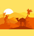 sand desert with camel and photographer vector image