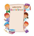School poster with young children in carnival vector image vector image