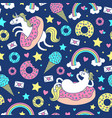 seamless pattern with fun unicorns in donuts vector image vector image