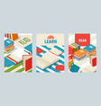 set banners with books poster for library or vector image