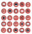 set of digital devices icons red vector image
