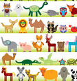 Set of funny cartoon animals character on white vector image vector image
