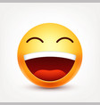 smileylaughing emoticon yellow face with vector image vector image
