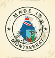 Stamp with map flag of Montserrat vector image vector image