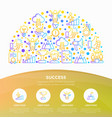 success concept in half circle thin line icons vector image vector image