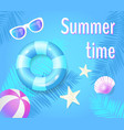 summer time poster with items vector image vector image