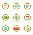 supermarket equipment icons set cartoon style vector image vector image