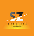 sz s z letter modern logo design with yellow vector image vector image