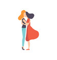 two beautiful women friends hugging side view vector image vector image