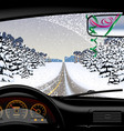 winter road in snowfall from inside car vector image