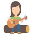 Woman playing guitar vector image vector image