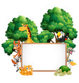 wooden frame with many animals in forest vector image vector image