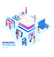 workspace technology isometric composition vector image vector image