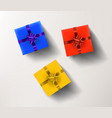 yellow red and blue gift boxes isolated on white vector image