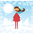 child girl over winter landscape with tree and moo vector image