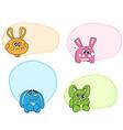 cartoon rabbits labels vector image