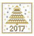 peasant folk rustic motif of christmass tree cross vector image