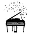 a piano with notes vector image vector image