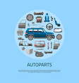 auto spare parts icons concept banner car service vector image vector image