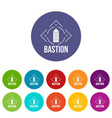 bastion icons set color vector image vector image