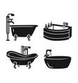 bathtub icon set simple style vector image vector image
