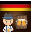 Beer boy flag cartoon barrel hat oktoberfest icon vector image