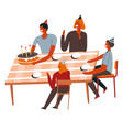 birthday party at home family around table vector image vector image