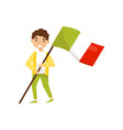 boy holding national flag of italy design element vector image vector image