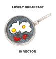breakfast by color pencils vector image