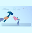 business man hand hitting piggy bank with hammer vector image vector image