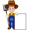 cartoon farmer holding blank sign vector image vector image