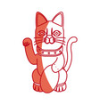 cat maneki neko fortune money tradition japan vector image