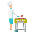 caucasian chef cooking steak on barbecue grill vector image vector image