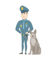 caucasian police officer standing near police dog vector image