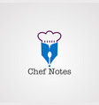 chef note with pen logo icon element and vector image