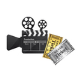 clapper board and tickets vector image vector image