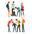 conflict between teenagers mockery and bullying vector image vector image