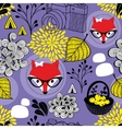 Cute seamless pattern with red foxes and autumn vector image