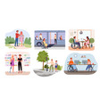 disabled handicap people in lifestyle scenes vector image